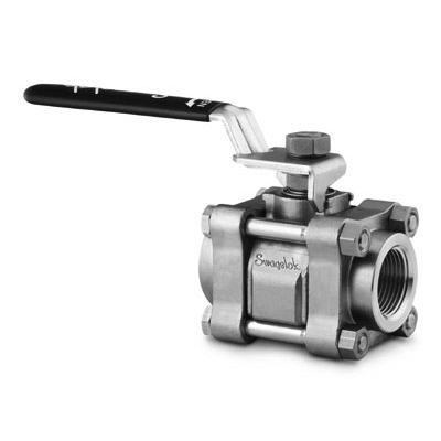 Swagelok 3-Piece 60 Series Ball Valve, 0.406 in. Orifice, Reinforced PTFE Seats, 1/2 in. Swagelok Tube Fitting