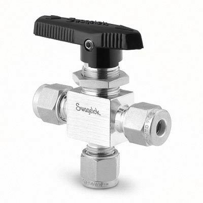Swagelok 1-Piece 40 Series 3-Way Ball Valve, 0.15 Cv, 1/8 in. Swagelok Tube Fitting