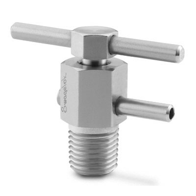 Swagelok Stainless Steel Bleed Valve, 1/2 in. MNPT, Stainless Steel Bar Handle