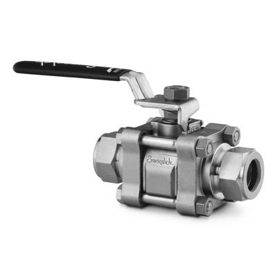 Swagelok Stainless Steel 3-Piece 60 Series Ball Valve, Reinforced PTFE Seats, 3/4 in. Swagelok Tube Fitting